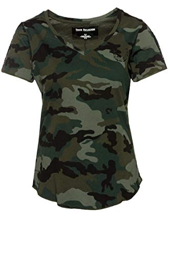 True Religion Damen T-Shirt Camo Dusty Grün S