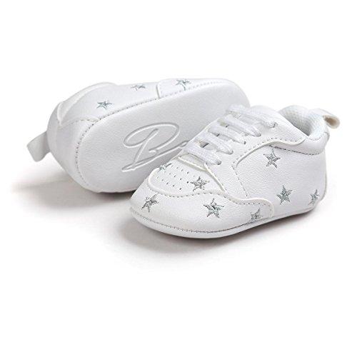 itaar Chaussures bébé chaussures de sport chaussures de randonnée avec étoiles cœurs et brodé Semelle Souple pour Bébé et Enfant 0–18mois Silber
