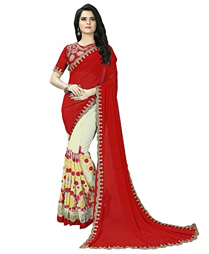 Siddeshwary Fab Women's Georgette Saree (S-011 Red Net Saree_Red)