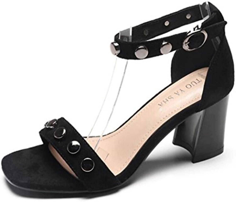 201fae5ce0a026 GAOLIXIA Femmes Dames Suede T-sangle Peep Toe Rivet s à talons hauts  pompes bride à la cheville ChaussuresB07DC5CD28Parent | Ont  Longtemps ...