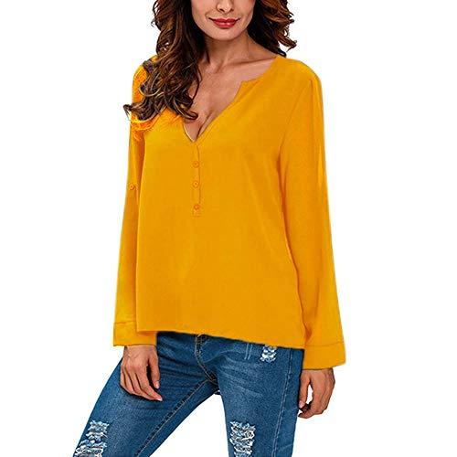 VEMOW Heißer Sommer Herbst Damen Plus Size Solid Langarm Casual Chiffon Damen OL Arbeit Top T-Shirt(X2-Gelb, 42 DE/L CN)
