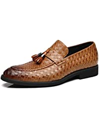 Mode Herren Müßiggänger Leder flachen Boden Bequeme quadratische formelle  Kleidung Büro Schuhe Herren ... 3be3f35d2c