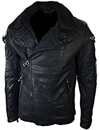 Mens Punk Rock PU Leather Cross Zip Biker Jacket Fur Collar Slim Fit Retro