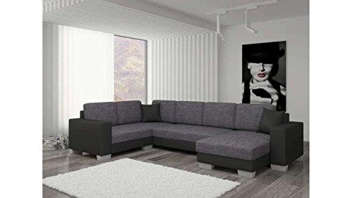 JUSTyou Marco II Canapé d'angle panoramique Sofa Ensemble de Salon Tissu structuré Simili Cuir (lxLxH): 145-206x303x86 cm Noir Gris I Angle Droit