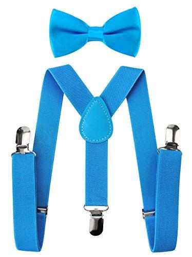axy Hochwertige Kinder Hosenträger-Y Form mit Fliege- 3 Clips EXTRA STARK-Uni Farben (Königblau) (Clip-fliege Hosenträger Und)