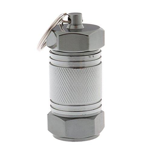 Sharplace 1pcs Mini Schlüsselanhänger Aluminium Tablettenbox Pillen Dose Tabletten Box Pillenbox Aufbewahrungsbox - 7 x 3 cm - Grau
