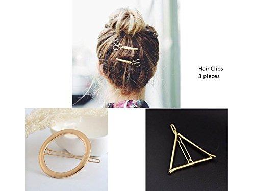 Haarspange Haarschmuck Haarclips Kopfschmuck 3 Stück Set Farbe Gold Dreieck Kreis Schere
