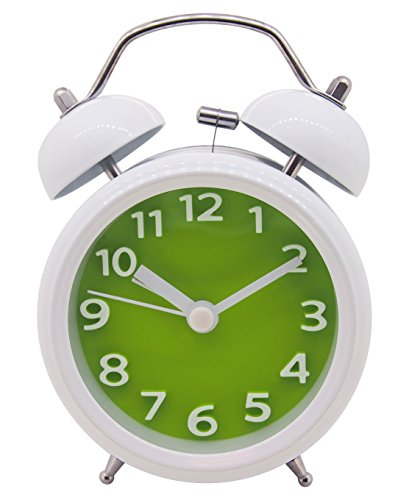 Sveglia con due campanelle e luce, funzionamento silenzioso, meccanismo al quarzo, analogica, segnale d'allarme a (Quarzo Verde)