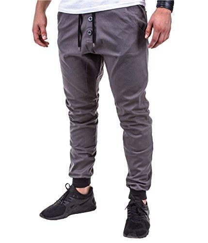 Better Sleep tylz rassabz Chino Jogger Regular Fit pantaloni da jogging dinotech Training Pantaloni con bottoni in colori diversi ornamentali (da S a XXL) grigio scuro M