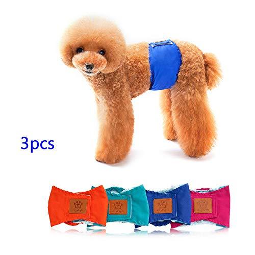 SelfLove 3er Set Hundewindel Windel für Rüden männlichen Hunde Rüdenwindel Inkontinenzwindel Hundeschutzhose Stecker Bauchband Gurte für Hunde Wiederverwendbar Waschbar (M, Blau) -