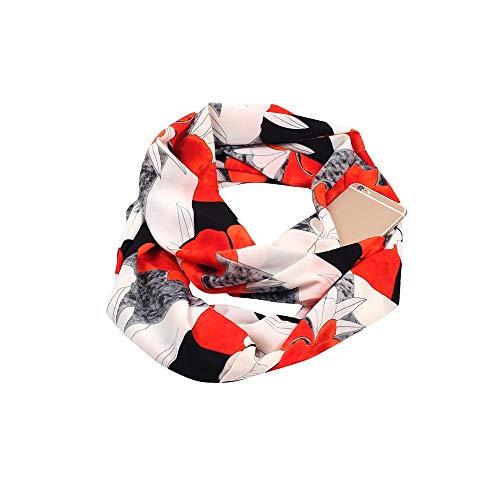 cken Winter Cabrio Infinity Schal Pocket Loop Zipper Pocket Schals/Damen Schal Leichter Schlauchschal Loopschal Damenschal Halstuch Stola Halstuch (B) ()