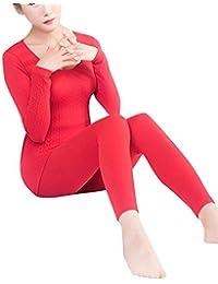 Conjunto De Ropa Interior Térmica De Elástico Top Y Pantalones Para Mujer