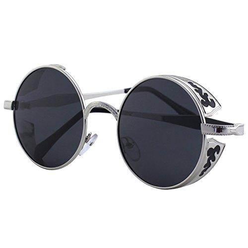 CGID Retro Sonnenbrille im Steampunk Stil, runder Metallrahmen, polarisiert, für Männer, (Outfits Rave Männer)