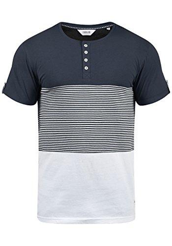 Muster Streifen T-shirts (!Solid Marek Herren T-Shirt Kurzarm Shirt Streifenshirt Mit Streifen Und Grendad-Ausschnit, Größe:XL, Farbe:Insignia Blue (1991))