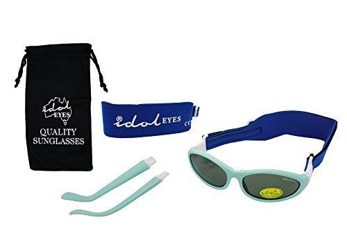 Lot de 2 paires de lunettes de soleil pour bébé - De 0 à 5 ans - Avec 2 bandeaux et des branches amovibles - Bleues