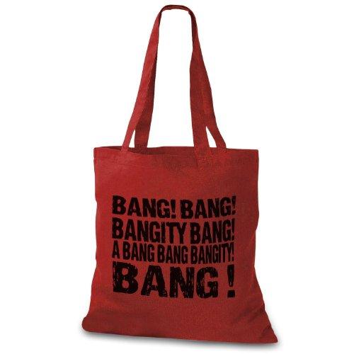 Stylobag Jutebeutel Bang! Bang! Bang Bang! Un Botto Bang Bang Bang! Stofftasche Rot