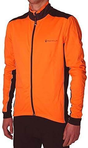 More Mile Piu Miglia Bari Orange Fluo Soft Shell Veste de cyclisme pour homme Fermeture Éclair intégrale pm2228 moyen Orange - Orange fluo/noir