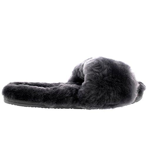 Polar Damen Echten Australischen Schaffell Mules Offener Zeh Pelz Luxury Pantoffeln Grau