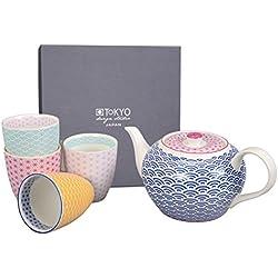 Tokyo Design Studio, Star Wave,Teekanne mit 4 Tasse , 5-tlg., 1.2 L kanne, Porzellan