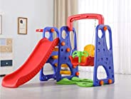 Rainbow Toys 3 in 1 Outdoor Play Structure Jumbo Slide with Swing And Basket Ball Game for Kids Activity