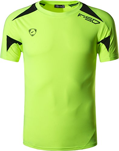 jeansian Herren Sportswear Quick Dry Short Sleeve T-Shirt LSL133 LSL3209_GreenYellow