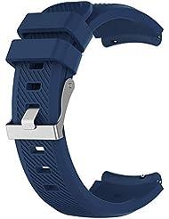 LIUYUNE,Banda de Reloj de Silicona Deportiva de 22 mm para Samsung Gear S3 Frontier(Color:Medianoche Azul)
