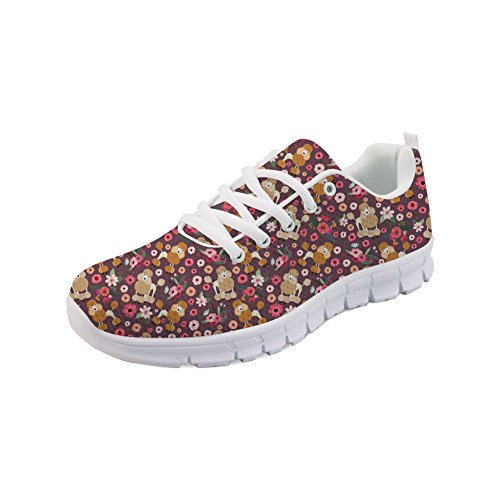Nopersonality Damen Fitness Laufschuhe Sportschuhe Schnüren Running Sneaker Netz Gym Schuhe - Süß Drucken Pudel Blume - Größe 38 -