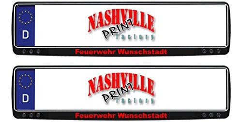 1-Paar-Kennzeichenhalter-schwarz-mit-Feuerwehr-und-Stadt-nach-Wunsch-bedruckt