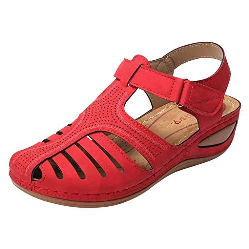 a und Amerika Vintage Sandalen Damen Flache Sandalen Casual rutschfest Sandalen Komfortabel Hollow Atmungsaktiv Sandalen Outdoor Schuhe für Sport Freizeit Laufschuhe Sportschuhe ()