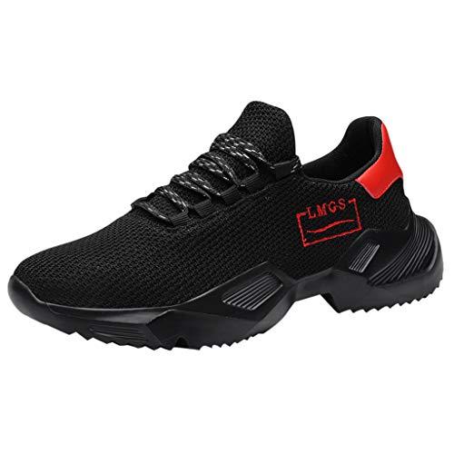 Lilicat Scarpe Running Sneakers Uomo Sport Scarpe da Ginnastica Fitness Respirabile Mesh Corsa Leggero Casual all'Aperto Sneakers(Nero-A,45 EU)