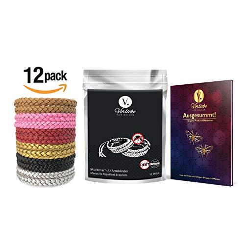 Vorliebe ® Mückenschutz Armband 12 Stück • Premium Moskitoschutz to go • Natürliche Mückenabwehr für Zuhause und unterwegs • DEET frei • Inkl. gratis E-Book (Kunstleder, 12 Stück)