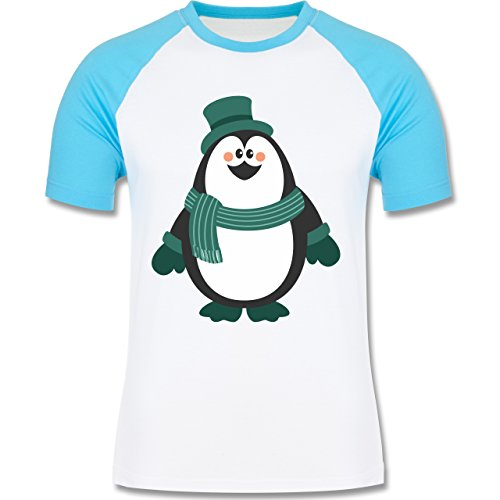 Weihnachten & Silvester - Winter Pinguin Hut Schal - zweifarbiges Baseballshirt für Männer Weiß/Türkis