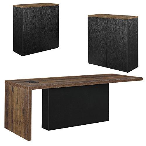 [neu.haus] Chef-Schreibtisch mit 2 Aktenschränken Regal Schwarz Sideboard Eiche