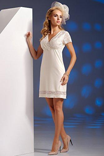Donna Nuisette élégante et légère en viscose avec ornements fins en dentelle Beige - Ecru