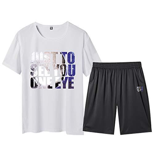 Beikoard T-Shirt da Uomo Baisc Maglietta Uomo Maniche Corte Classico Tops Sezione Sottile Estate Pantaloncini a Maniche Corte Abbigliamento Sportivo(Bianco,XXXL)