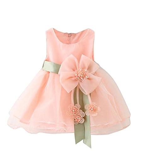 Bekleidung Longra Kleinkind Baby Mädchen Soild Gürtel Blumenkleid Lagen Ohne Arm Tüll Tutu Kleid Kleidung Prinzessin Kostüm Kleid Sommer Kleid (0-24Monate) (70CM 12Monate,