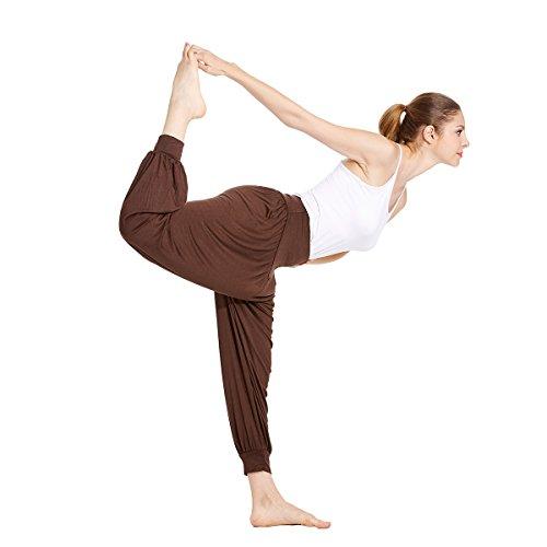 VENI MASEE® ON SALES Frauen weichen, elastischen Bund fitness yoga Herem Hosen, Farben Kaffee