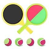 Welltop Klettball Set, Klettballspiel für Kinder Outdoor Spielzeug Sommer Sport Interaktive Spiele Garten Strand Spielzeug mit 2 Schlägern und 4 Bällen für 6 7 8 Jahre alte Kinder
