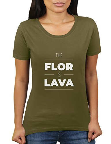The Flor is Lava - Damen T-Shirt von KaterLikoli, Gr. S, Olive -