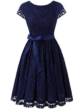 IVNIS Damen Vintage Spitzen V Rücken Kurze Brautjungfern Party Kleid Abschlussballkleider Cap Ärmeln