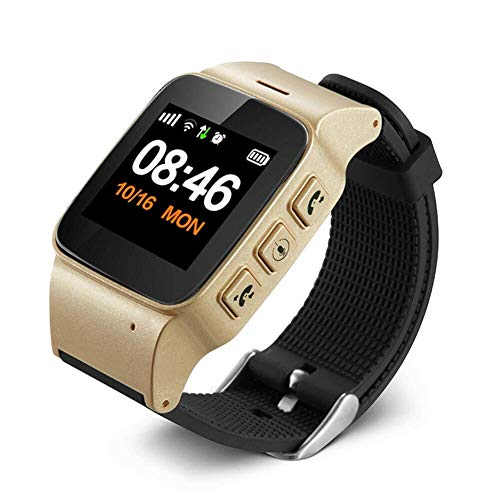 Smart Watch Armband, Ältere Locator WiFi GPS LBS Positionierung Telefon Uhr, Smart Health Positionierung Uhr Telefon, For Android / IOS, Großer Bildschirm Und Einfach Zu Bedienen ( Color : Gold ) (Gps-locator-armband)