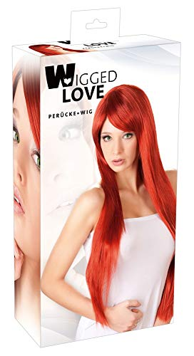 Wigged Love Perücke rot, lang, glatt - Langhaar-Perücke mit Pony für sie, erotische Perücke zur Verführung, Faschingsparty, rot