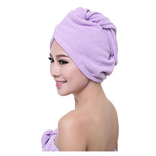 Transer Badetuch-Haartrocknerhaube aus Mikrofaser, schnell trocknend, Kopfbandmütze als Badezimmer-Accessoire für Damen Einheitsgröße violett