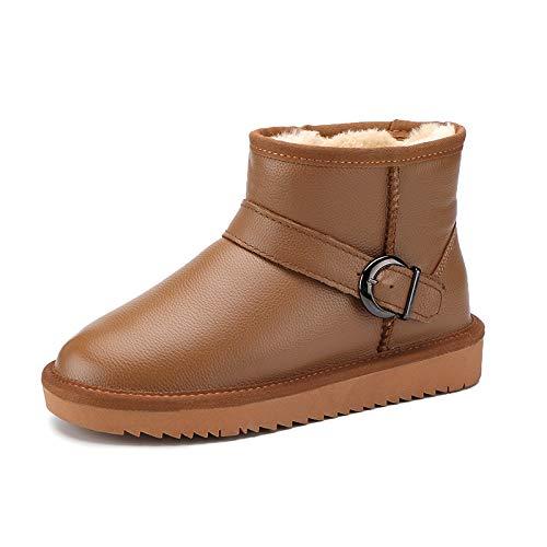 Herbst Und Winter Schnee Stiefel Weibliche Pu Wasserdichte Baumwolle Schuhe Flache Kurze Rohrverdickung Schuhe Pu Mutter Stiefel, 41, Maroon A ()