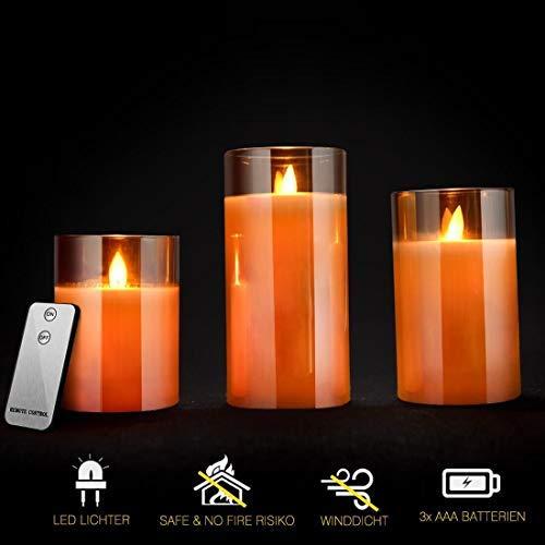 LED Kerzen Glas, Flammenlose Flackernde Kerzen, Fernbedienung mit Timerfunktion Realistisch LED-Flammen, Größe 10 cm / 12,5 cm / 15 cm Hoch, 7,5 cm Durchmesser