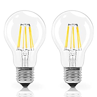 Bulb 6W E27 Filament LED Equivalent 60W Incandescent, Pack of 2 Light Bulbs 600 Lumens and 2700K Warm White, 360° Beam Angle by Aglaia