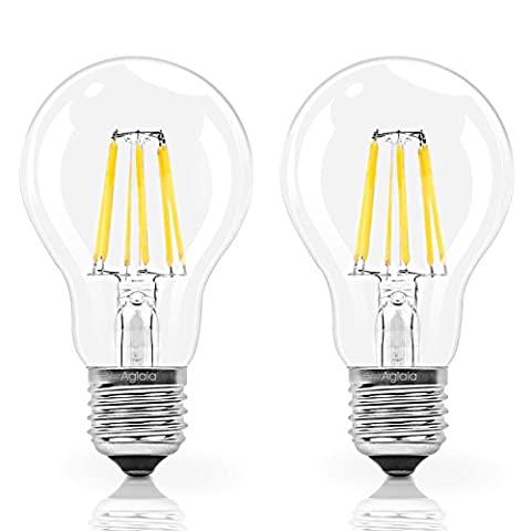 Aglaia E27 LED Bulb 6W Equivalent 60W Incandescent, Pack of 2 Light Bulbs 600 Lumens and 2700K Warm White, 360° Beam Angle