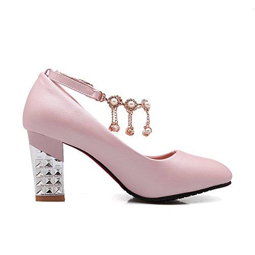 VogueZone009 Femme Fermeture D'Orteil Pointu à Talon Haut Boucle Couleur Unie Chaussures Légeres Rose