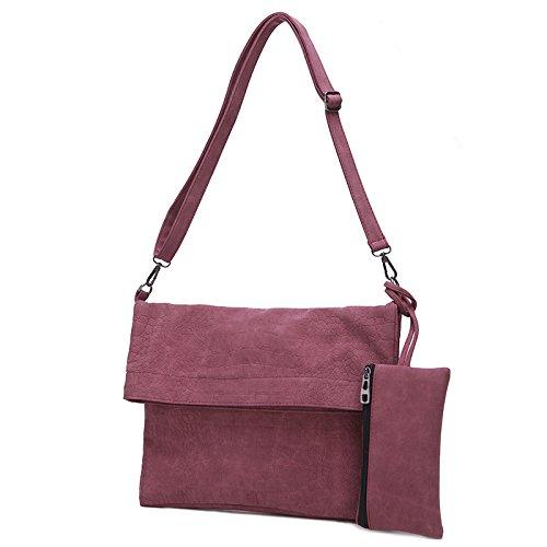 Dame diagonal - geprägter Schultertasche Damen einfache Tasche matt Schultertasche Dark gray