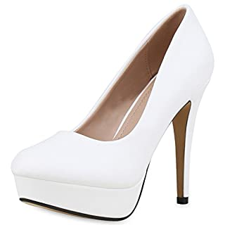 SCARPE VITA Damen Plateau Pumps Stiletto High Heels Party Schuhe Leder-Optik 160928 Weiss 38